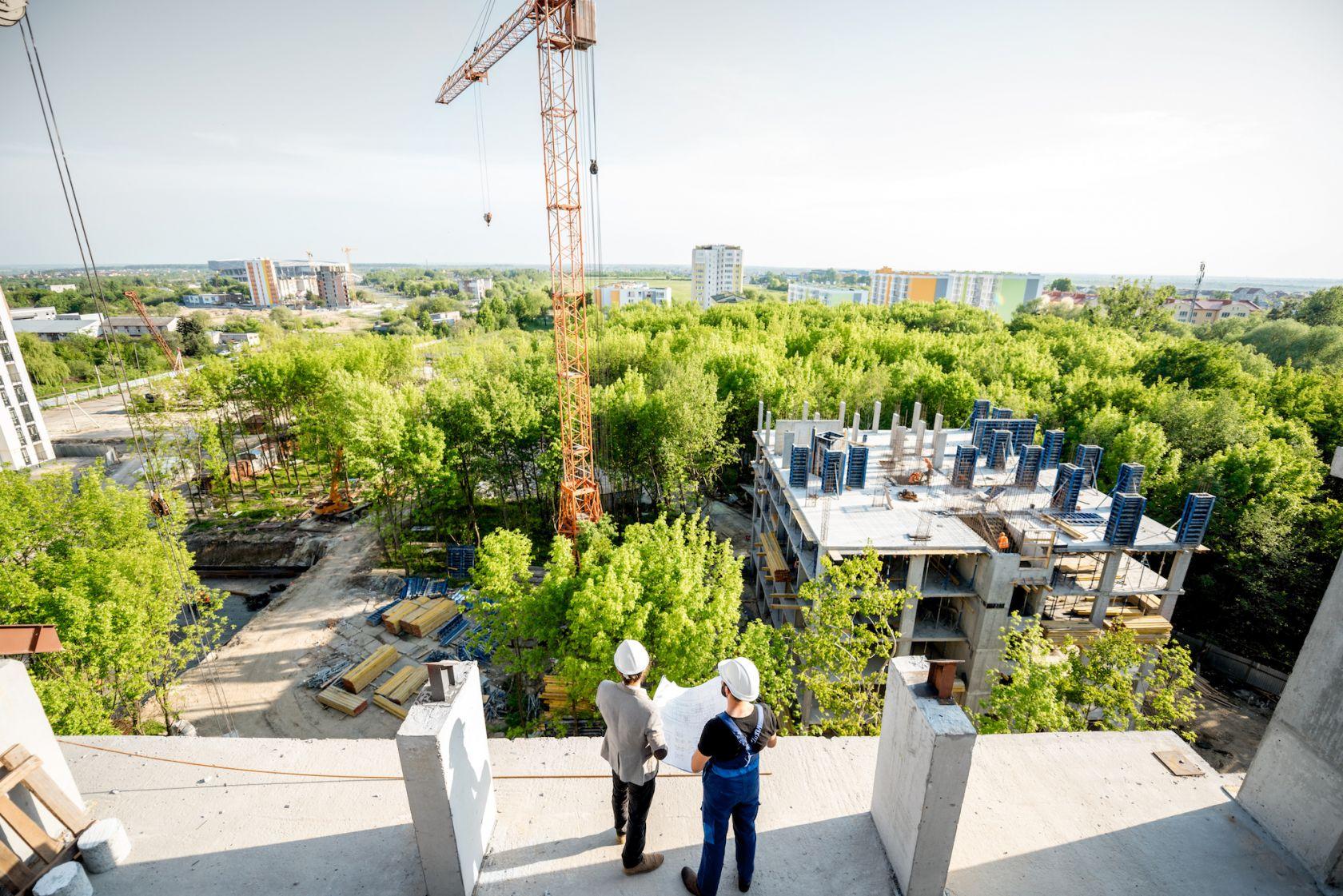 Overlooking construction of urban development