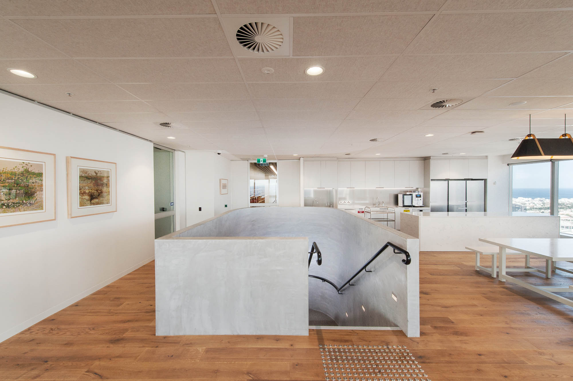 australian government solicitor melbourne office with entrance to concrete internal staircase